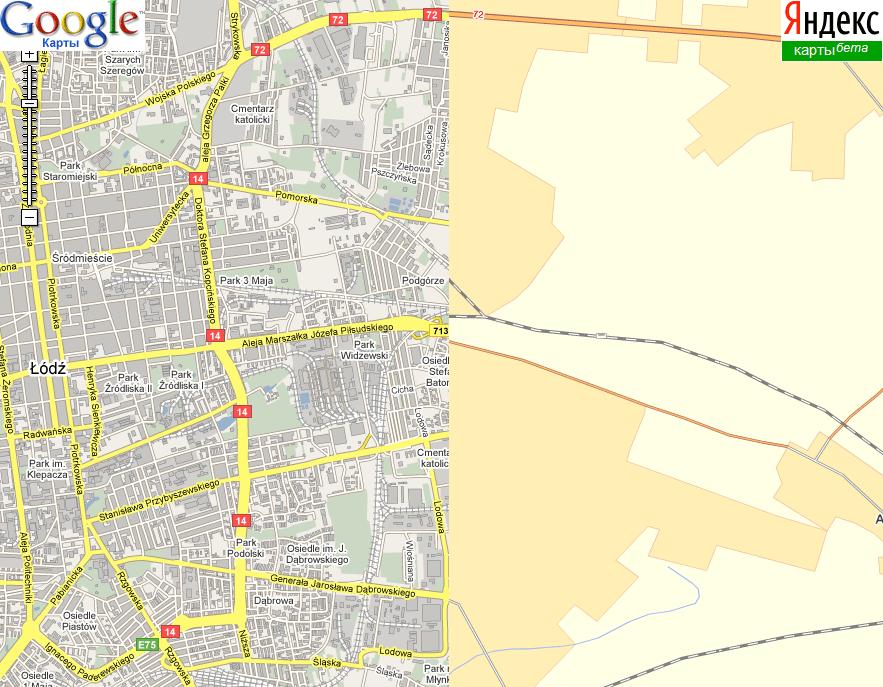 Лодзь на картах Яндекса и Гугла